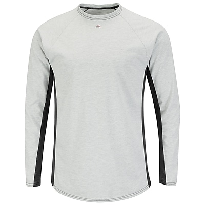 Bulwark Men's Long Sleeve FR Two-Tone Base Layer - EXCEL FR RG x L, Grey