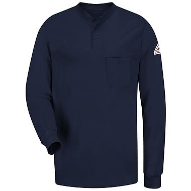 Bulwark Men's Long Sleeve Tagless Henley Shirt - EXCEL FR RG x S, Navy