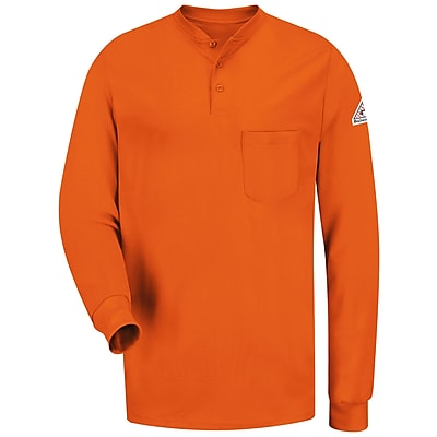 Bulwark Men's Long Sleeve Tagless Henley Shirt - EXCEL FR RG x XL, Orange