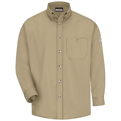 Bulwark Men's Dress Shirt - EXCEL FR - 5.25 oz. RG x XL, Khaki