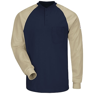 Bulwark Men's Long Sleeve Color-Block Tagless Henley Shirt - EXCEL FR RG x XL, Navy / khaki