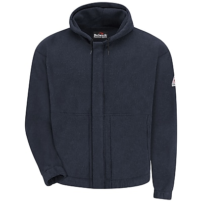 Bulwark Men's Zip-front Hooded Fleece Sweatshirt - Modacrylic blend LN x XXL, Navy