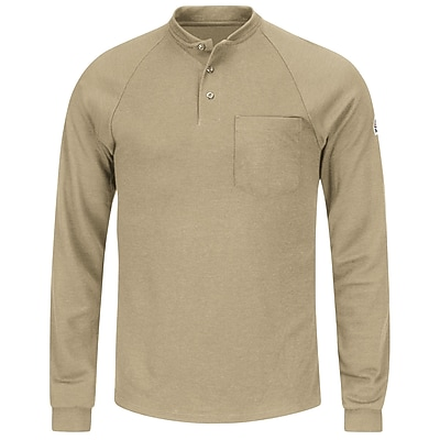 Bulwark Men's Long Sleeve Henley Shirt- CoolTouch2 RG x L, Khaki