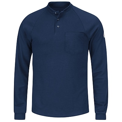 Bulwark Men's Long Sleeve Henley Shirt- CoolTouch2 RG x XL, Navy