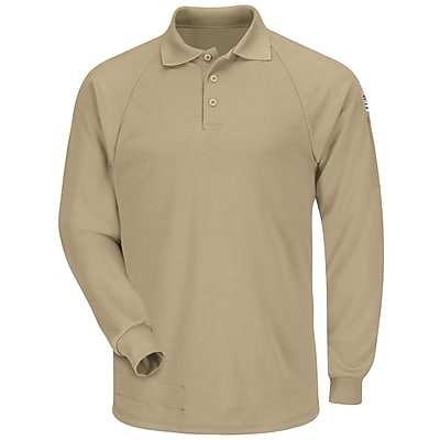 Bulwark Men's Classic Long Sleeve Polo - CoolTouch2 RG x XL, Khaki
