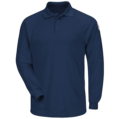 Bulwark Men's Classic Long Sleeve Polo - CoolTouch2 RG x L, Navy