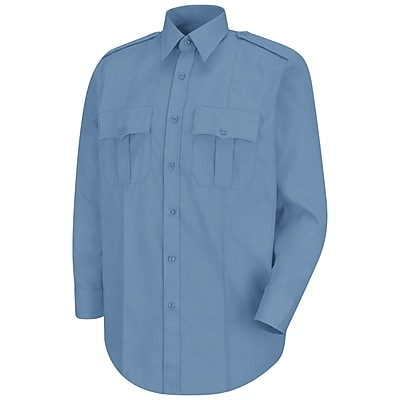 Horace Small Men's New Dimension Stretch Poplin Long Sleeve Shirt 185 x 36, Light blue