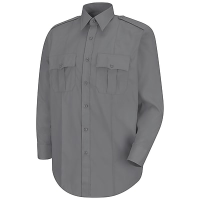 Horace Small Men's New Dimension Stretch Poplin Long Sleeve Shirt 155 x 35, Grey