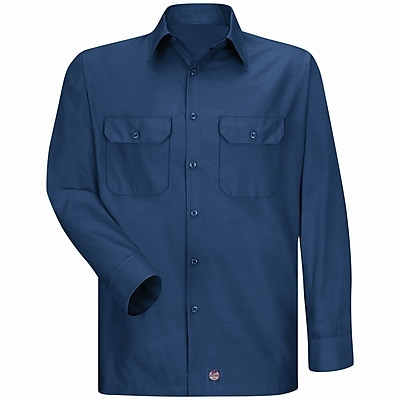 Red Kap Men's Solid Rip Stop Shirt RG x XL, Navy