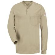 Bulwark Men's Long Sleeve Tagless Henley Shirt - EXCEL FR RG x S, Khaki