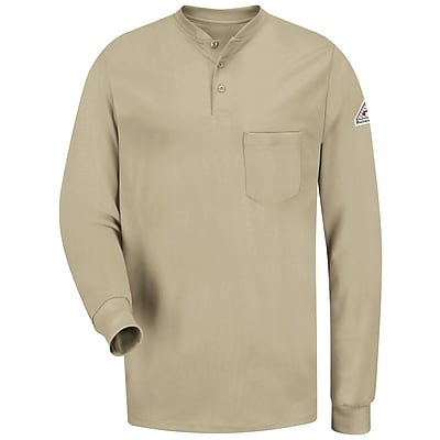Bulwark Men's Long Sleeve Tagless Henley Shirt - EXCEL FR RG x XL, Khaki