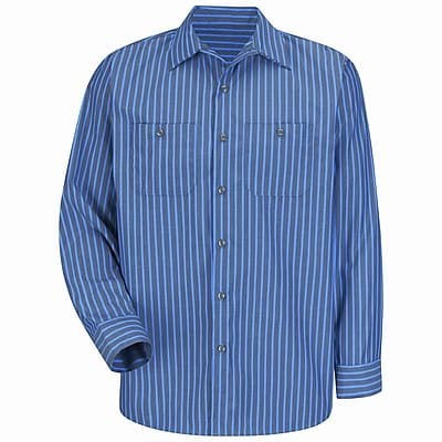 Red Kap Men's Industrial Stripe Work Shirt XLN x 3XL, Grey / blue stripe