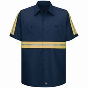 Red Kap Men's Enhanced Visibility Cotton Work Shirt SSL x XXL, Navy with Yellow & Green Visibility Trim
