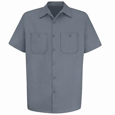 Red Kap Men's Wrinkle-Resistant Cotton Work Shirt SSL x XXL, Graphite grey