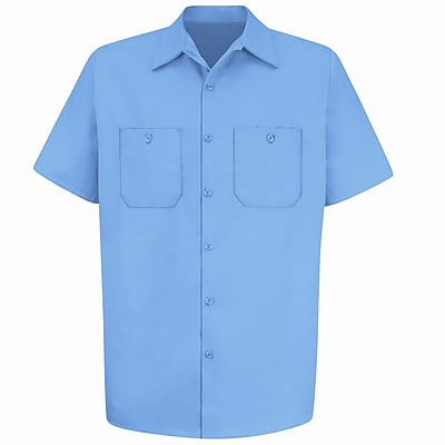 Red Kap Men's Wrinkle-Resistant Cotton Work Shirt SSL x XXL, Light blue