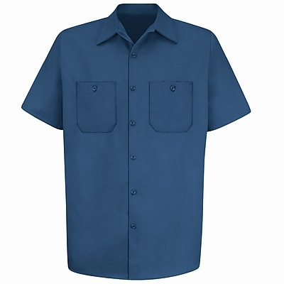 Red Kap Men's Wrinkle-Resistant Cotton Work Shirt SSL x XXL, Navy