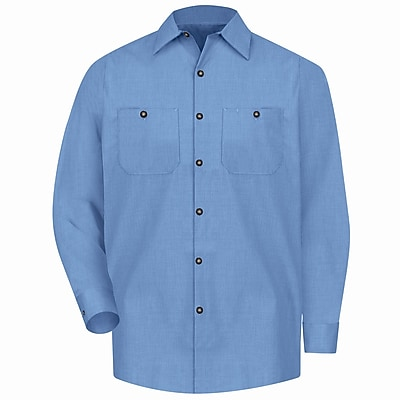 Red Kap Men's Geometric Micro-Check Work Shirt LN x L, Denim blue microcheck