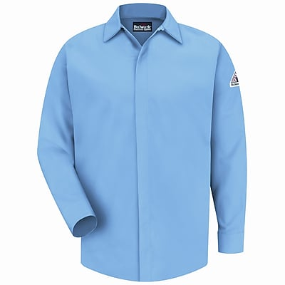 Bulwark Men's Concealed-Gripper Pocketless Shirt - EXCEL FR ComforTouch - 7 oz. RG x 3XL, Light blue