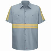 Red Kap Men's Enhanced Visibility Cotton Work Shirt SSL x XXL, Light Grey with Yellow & Green Visibility Trim