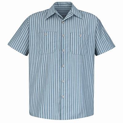 Red Kap Men's Industrial Stripe Work Shirt SSL x XXL, Green / khaki stripe
