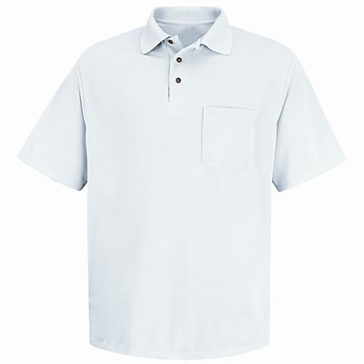 Red Kap Men's Performance Knit Polyester Solid Shirt SS x L, White