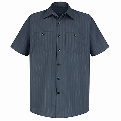 Red Kap Men's Industrial Stripe Work Shirt SSL x 4XL, Charcoal with Blue / White Stripe