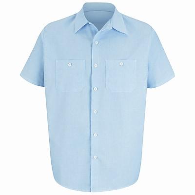 Red Kap Men's Industrial Stripe Work Shirt SSL x 5XL, Blue / white stripe