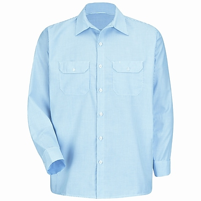 Red Kap Men's Deluxe Uniform Shirt XLN x XL, White / blue pin stripe