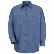 Red Kap Men's Micro-Check Uniform Shirt XLN x XXL, Blue / charcoal check
