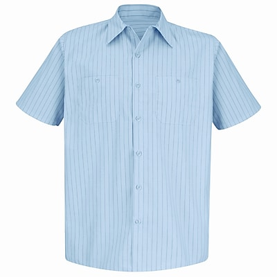 Red Kap Men's Industrial Stripe Work Shirt SSL x XXL, Light blue / navy stripe