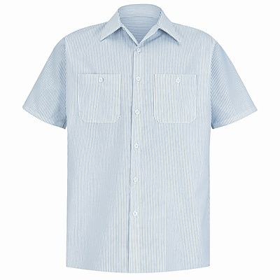 Red Kap Men's Industrial Stripe Work Shirt SSL x 3XL, White / charcoal stripe