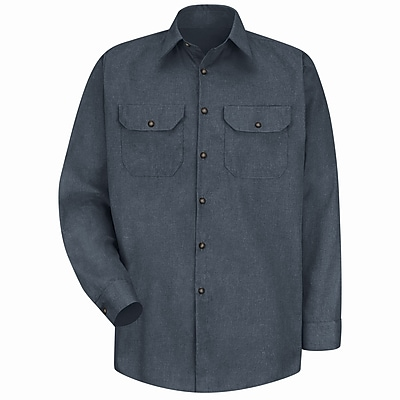 Red Kap Men's Heathered Poplin Uniform Shirt LN x XL, Charcoal