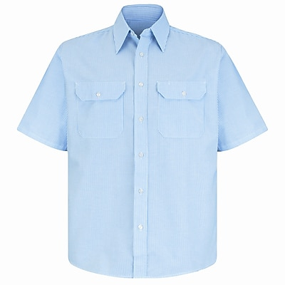 Red Kap Men's Deluxe Uniform Shirt SSL x L, White / blue pin stripe