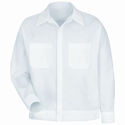 Red Kap Men's Button-Front Shirt Jacket RG x XXL, White