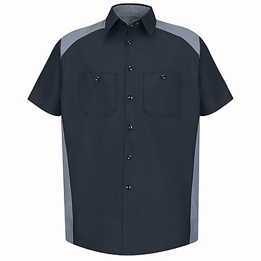 Red Kap Men's Motorsports Shirt SSL x XL, Silver / black