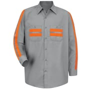 Red Kap  Men's Enhanced Visibility Shirt LN x 3XL, Light Grey with Orange Visibility Trim