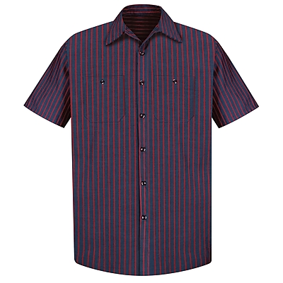 Red Kap Men's Industrial Stripe Work Shirt SSL x XXL, Navy / red stripe