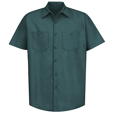 Red Kap Men's Industrial Work Shirt SS x L, Spruce green