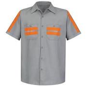 Red Kap  Men's Enhanced Visibility Shirt SS x 3XL, Light Grey with Orange Visibility Trim
