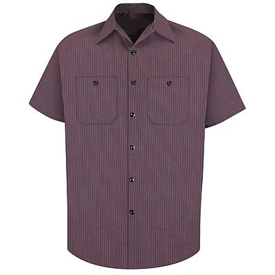Red Kap Men's Durastripe Work Shirt SS x M, Charcoal / red twin stripe