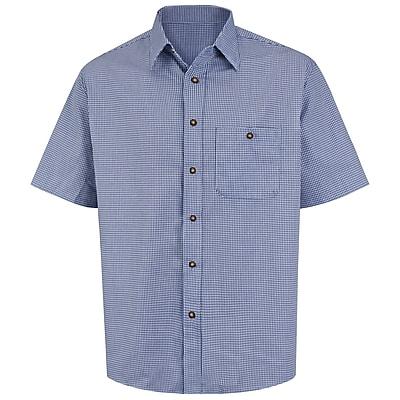 Red Kap Men's Mini-Plaid Uniform Shirt SS x XXL, White / blue