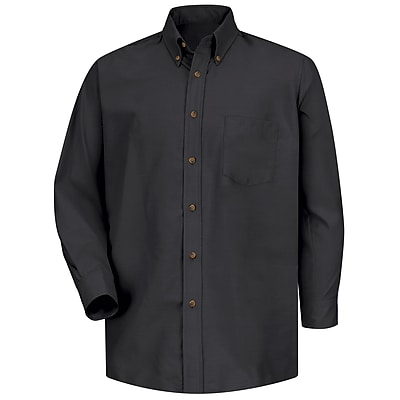 Red Kap Men's Poplin Dress Shirt 5XL x 345, Black