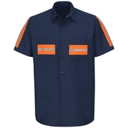 Red Kap  Men's Enhanced Visibility Shirt SSL x XXL, Navy with Orange Visibility Trim