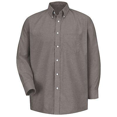 Red Kap Men's Executive Oxford Dress Shirt 17 x 34, Grey