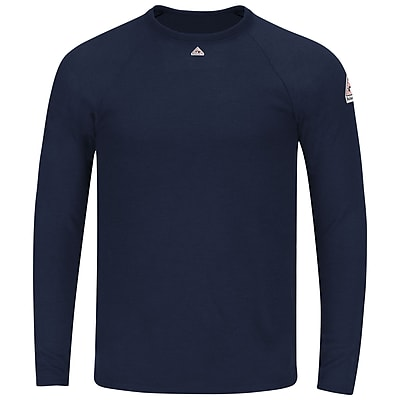 Bulwark Men's Long Sleeve Tagless T-shirt - Power Dry FR RG x XL, Navy