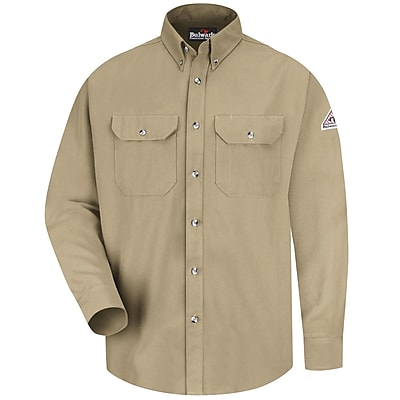 Bulwark Men's Dress Uniform Shirt - CoolTouch 2 - 7 oz. RG x L, Khaki
