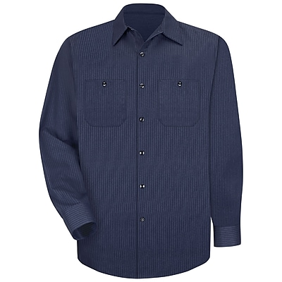 Red Kap Men's Durastripe Work Shirt LN x XXL, Navy / light blue twin stripe