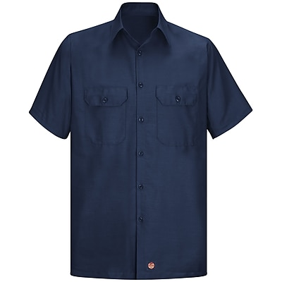 Red Kap Men's Solid Rip Stop Shirt SSL x XXL, Navy