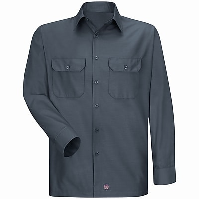 Red Kap Men's Solid Rip Stop Shirt LN x XL, Charcoal