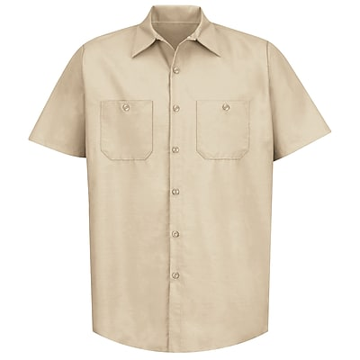 Red Kap Men's Industrial Work Shirt SSL x XXL, Light tan